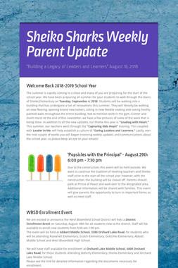 Sheiko Sharks Weekly Parent Update