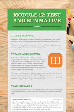 MODULE 12: Test and Summative