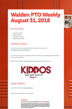 Walden PTO Weekly  August 31, 2018
