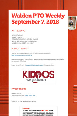 Walden PTO Weekly September 7, 2018