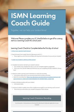 ISMN Learning Coach Guide
