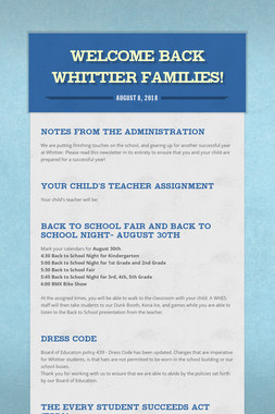 Welcome Back Whittier Families!