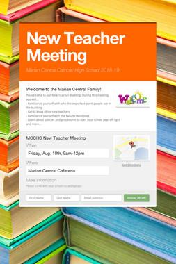 New Teacher Meeting