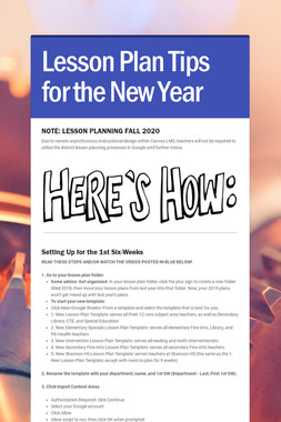 Lesson Plan Tips for the New Year