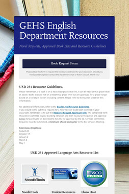 GEHS English Department Resources