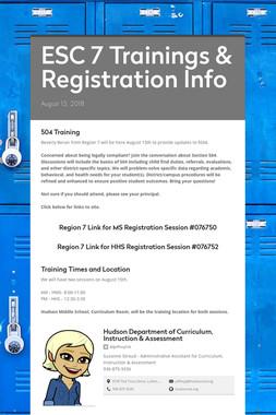 ESC 7 Trainings & Registration Info