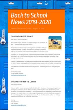 Back to School News 2018-2019