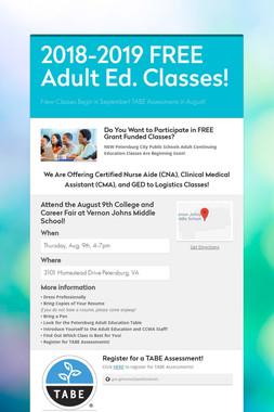 2018-2019 FREE Adult Ed. Classes!
