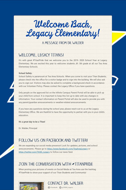 Welcome Back, Legacy Elementary!