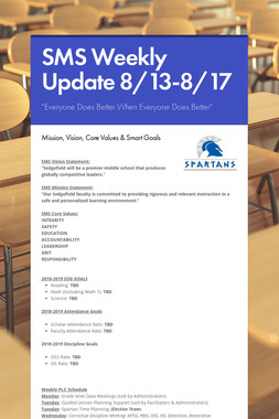 SMS Weekly Update 8/13-8/17
