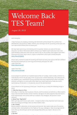 Welcome Back TES Team!