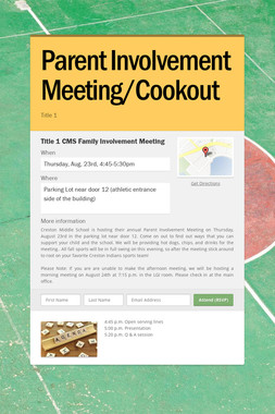 Parent Involvement Meeting/Cookout