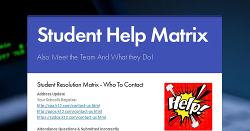 Student Help Matrix | Smore Newsletters for Education