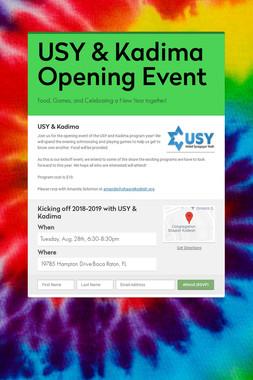 USY & Kadima Opening Event