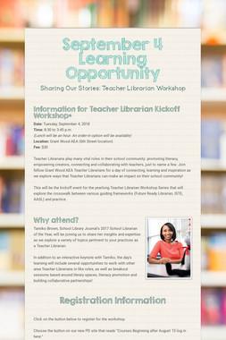 September 4 Learning Opportunity