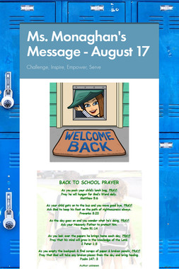 Ms. Monaghan's Message - August 17