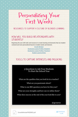 Personalizing Your First Weeks