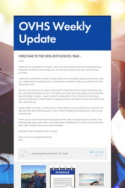 OVHS Weekly Update