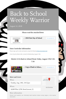 Back to School Weekly Warrior