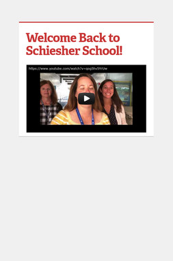 Welcome Back to Schiesher School!