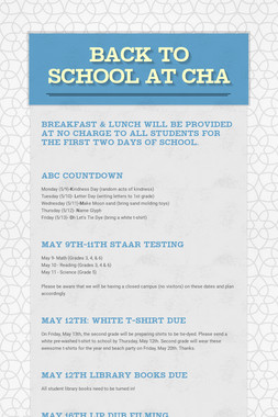 BACK TO SCHOOL AT CHA