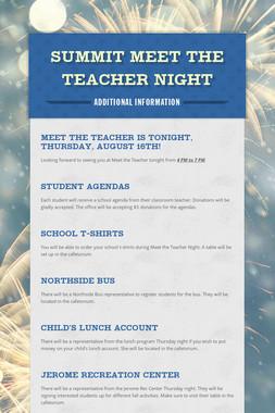Summit Meet the Teacher Night