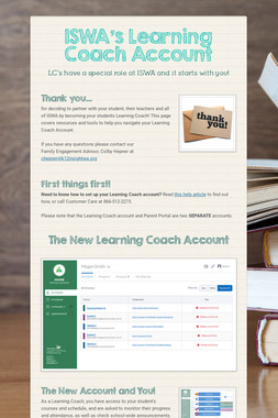 ISWA's Learning Coach Account