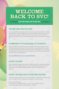 Welcome Back to SVC!
