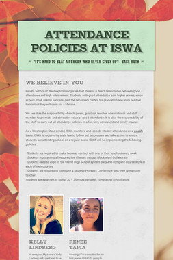 Attendance Policies at ISWA