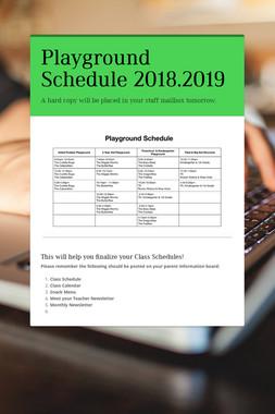 Playground Schedule 2018.2019