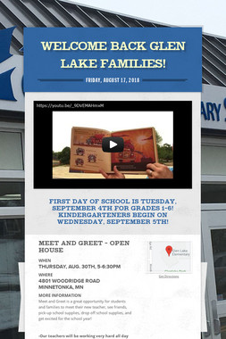 Welcome Back Glen Lake Families!