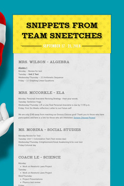 Snippets from Team Sneetches