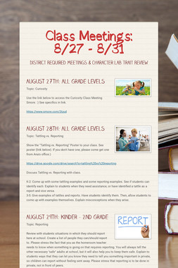 Class Meetings: 8/27 - 8/31