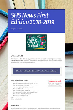 SHS News First Edition  2018-2019