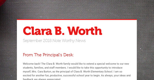Clara B  Worth | Smore Newsletters for Education