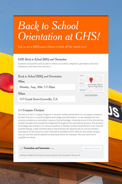 Back to School Orientation at GHS!