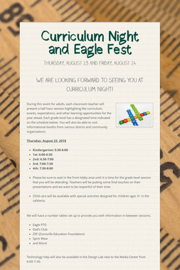 Curriculum Night and Eagle Fest