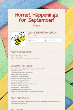 Hornet Happenings for September!