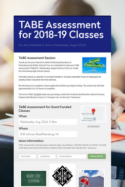 TABE Assessment for 2018-19 Classes