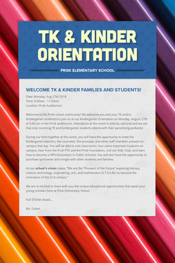 TK & Kinder Orientation