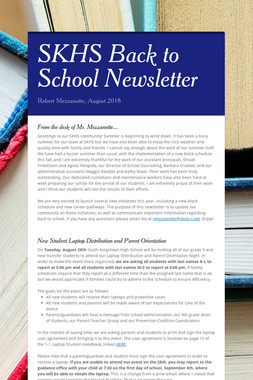 SKHS Back to School Newsletter