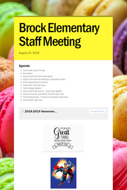 Brock Elementary Staff Meeting