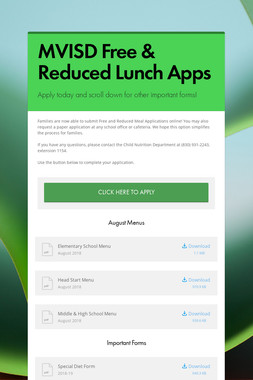 MVISD Free & Reduced Lunch Apps