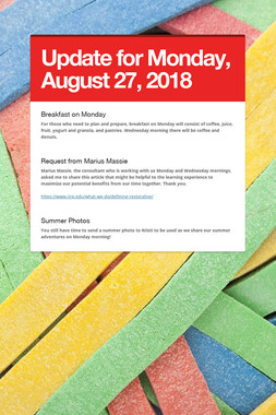 Update for Monday, August 27, 2018
