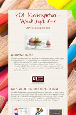 ROE Kindergarten - Week Sept. 3-7