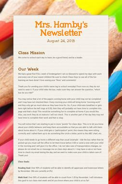 Mrs. Hamby's Newsletter