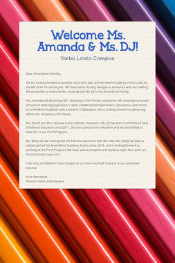Welcome  Ms. Amanda & Ms. DJ!
