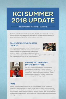 KCI Summer 2018 Update
