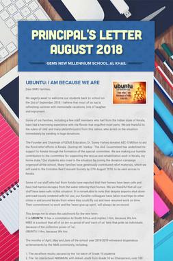 Principal's Letter August 2018