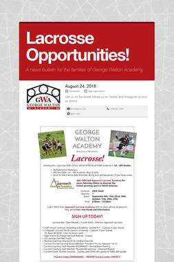 Lacrosse Opportunities!